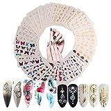 Nagelsticker 60 Blatt Wassertransfer Nagelsticker Selbstklebend Nail Sticker mit Schmetterling...