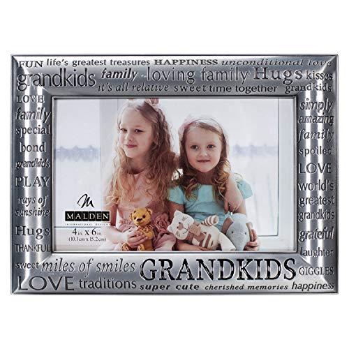 Malden International Designs Modern Pewter Metal Diecast Grandkids Expressions Picture Frame, 4x6,...