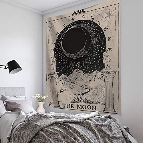 KHKJ Luna Sol Tarot Tapiz Colgante de Pared astrología adivinación Colcha Estera de Playa Manta Decorativa para Sala de Estar Dormitorio A1 150x130cm
