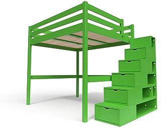 ABC MEUBLES - Lit Mezzanine Sylvia avec escalier Cube Bois - Cube - Vert, 160x200