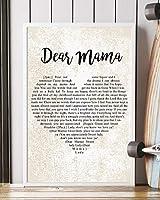 "Dear Mama Song Lyrics 装飾ポートレートポスタープリント 16"" x 24"""