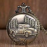YHWW Reloj de bolsill oAlta CalidadAntiguo Coche camión Colgante Cuarzo Fob & amp; Bolsillo Relojes Collar Cadena Reloj