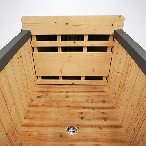 ALEKO HT2PIN 2-Person Natural Pine Hot Tub with Charcoal Stove Boiler - Natural Pine - 500 Liters