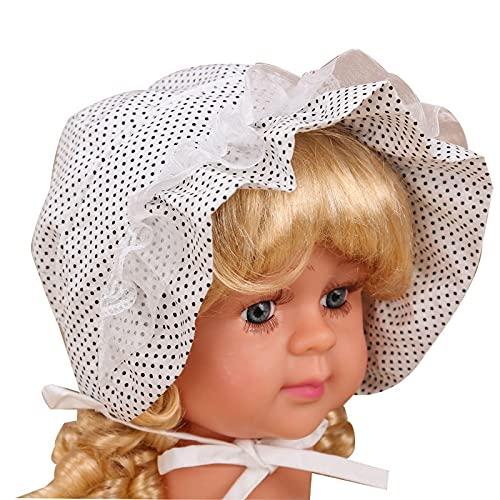 BANLV Primavera y Verano, con Cordones, Capucha para niña, Visera de algodón, Estampado de Lunares, Gorro de bebé recién Nacido S 码 (38cm)