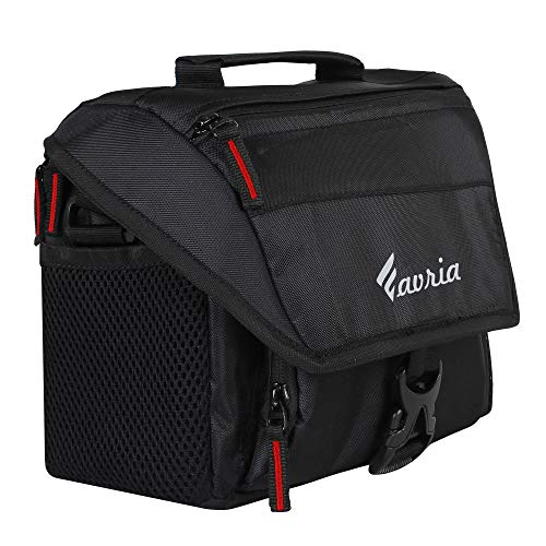 Favria Water Resistant Camera Bag, DSLR Camera Shoulder Bag, Outdoor Travel Camera Bag Case for Nikon Canon Sony Mirrorless Cameras, Lens, Tripod and Accessories – (Red Zip)