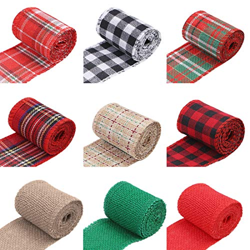 9 Roll Natural Jute Burlap Wired Ribbon Rolls Plaid Ribbon for Wedding Christmas Wreath Bows Trims Craft Decoration