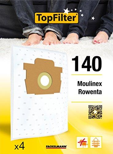 TopFilter 140, 4 sacs aspirateur pour Rowenta et Moulinex boîte de sacs d'aspiration en non-tissé, 4 sacs à poussière (30 x 26 x 0,1 cm)