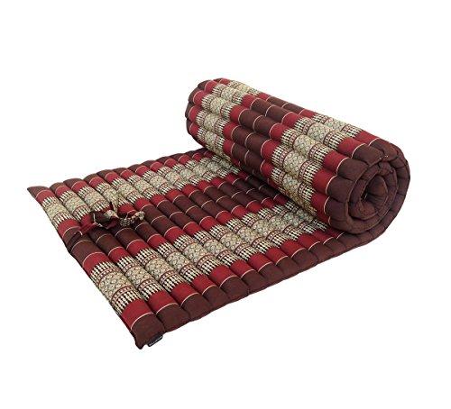 Materasso in tradizionale capoc, della gamma Thai, arrotolabile, per meditazione, yoga, massaggio o relax Burgundy, Brown