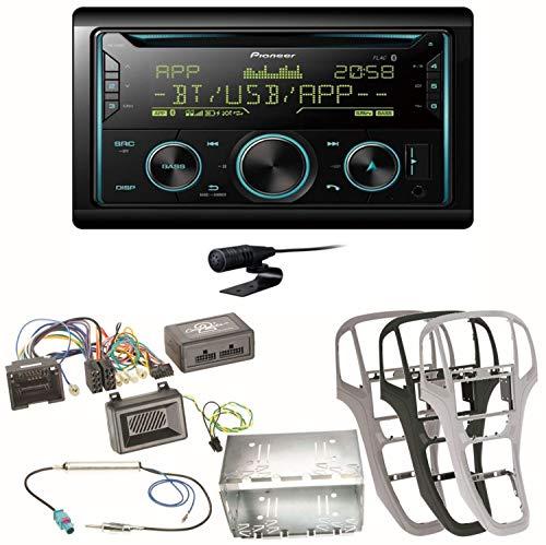 Pioneer FH-S720BT Bluetooth USB MP3 Autoradio CD FLAC WAV WMA Freisprecheinrichtung Einbauset kompatibel mit Opel Astra J, Farbe der Radioblende:Perl-Schwarz