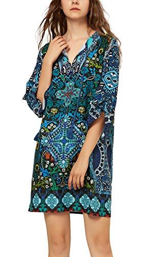 Women Bohemian Neck Tie Vintage Printed Ethnic Style Summer Shift Dress (XL, Pattern 12)