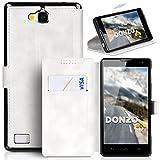DONZO Tasche Handyhülle Cover Hülle für das Huawei Honor 3C in Weiß Wallet Washed als Etui seitlich aufklappbar im Book-Style mit Kartenfach nutzbar als Geldbörse