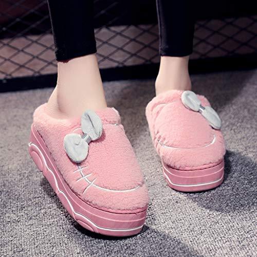 UXZDX Zapatillas De Casa De Invierno No Resbalan Zapatos De Piso De Sueños Calientes Interiores Y Zapatillas De Pantuflas (Color : Pink, Size : 36)
