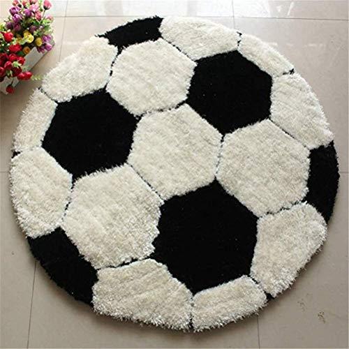 JINGYA Rund Teppich Teppich Nette Karikatur-Fußball-Teppich für Kinder Zimmer Kinder Schlafzimmer -80cm,A