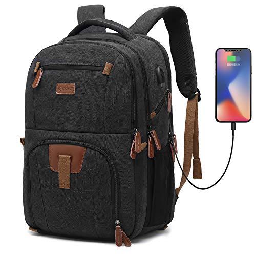 POSO Laptop-Reiserucksack 17,3 Zoll Computertasche mit USB-Anschluss Business Rucksack Wandern Rucksack Mehrfach Fächer Herren Rucksack für Dell Alienware Serie/HP/Lenovo/Acer (Canvas Schwarz)