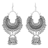 Oxidised base metal to give an antique look, a trendy, modern with the time pendant. Ideal gifting option for girls and women on any occasion Stunning heavy look ethnic dangler chandbali hook afghani earrings. light in weight, so is easy to carry for...