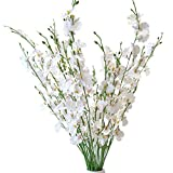 Artificial Orchid Flower Arrangement, Fake Faux Orchid Dancing Lady Flower, White, Long Stems 37', Tall Silk Oncidium Orchid Flower Stems for Home Office Decor Indoor, 10 Stems