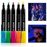 Pennarelli fluorescenti per tessuti | colori UV si illumina sotto la luce nera | pennarelli neon per magliette, borse in tessuto e bavaglini | lavabili
