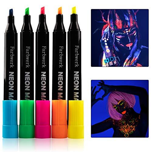 FARBWERK Fluoreszierende Textilstifte | UV-Farbe leuchtet unter Schwarzlicht | Neon Stoffmalstifte für T-Shirt, Stofftasche und Lätzchen | waschfest