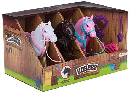 Brandsseller Pferdestall mit 3 Pferden und Pflege Set Spielzeugtierfiguren - Pferde: Weiß - Braun - Rosa