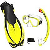 Promate Yellow, MLXL, scs0003, Snorkeling Mask Fins Dry Snorkel Set Gear Bag