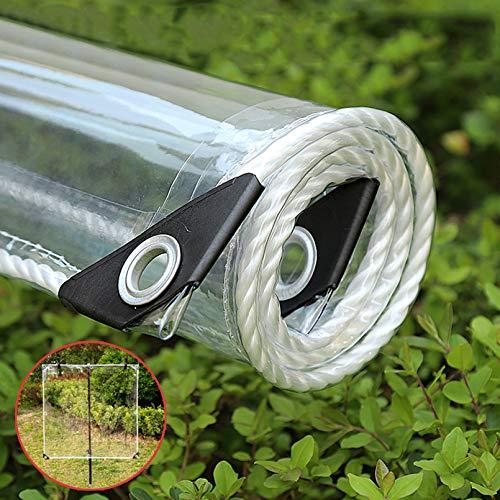 Lona PVC Transparente con Ojales,Toldos de Resistente A La Intemperie,Lona Impermeable Plegables de 0,35mm,Lona Protectora para Muebles de Jardín,Plantas,Invernadero,365g/M² (1.8x2.5m/5.9x8.2ft)