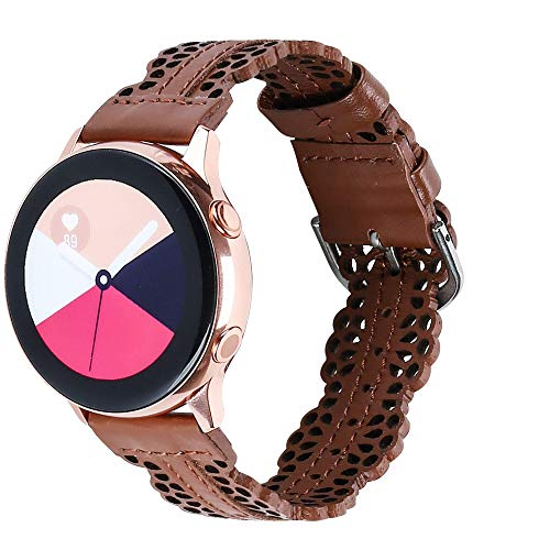 Glebo Correa de piel de 20mm compatible con Samsung Galaxy Watch 3 41mm/Active 2 (40mm/44mm) /Active 40mm para mujer, elegante correa de piel de repuesto para Samsung Watch 42mm, marrón oscuro