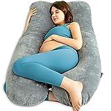 QUEEN ROSE Almohada en Forma de U, Almohada para el Embarazo con Funda de Felpa, Almohada para Todo el Cuerpo para Mujeres Embarazadas (Gris)