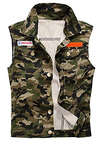 LifeHe Men's Sleeveless Vintage Motocycle Camo Denim Vest Jacket Army Green (Camo, L)