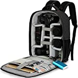 CADeN Mochila Camara Reflex - con Cubierta para Lluvia y Puerto USB Puede acomodar 2 cámaras 5 Lentes 1 trípode y Otros Accesorios fotográficas para Canon Nikon Sony