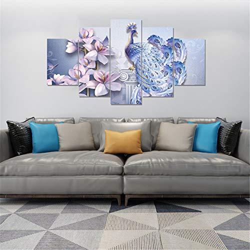 WSNDG Wulian olieverfschilderij, bloemen, pauw-combinatie, woonkamer, slaapkamer, decoratie, olieverfschilderij, decoratie zonder fotolijst 20x30cmx2 20x45cmx2 20x55cmx1 A