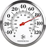 MIKSUS 12' Premium Steel Outdoor Thermometer Decorative (Upgraded Accuracy and Design)