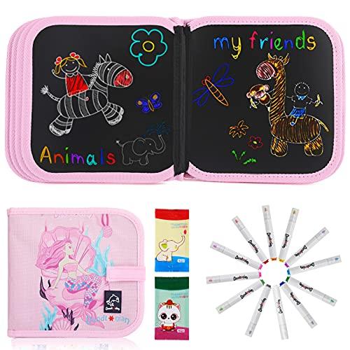JOYUE Tabla de Dibujo Portátil para Niños, Tablero de Dibujo de Graffiti, Innovadora Pizarra para Dibujar Durante Viajes o en Casa, Libros Blandos de Pizarra de 14 páginas (Sirena Rosa)