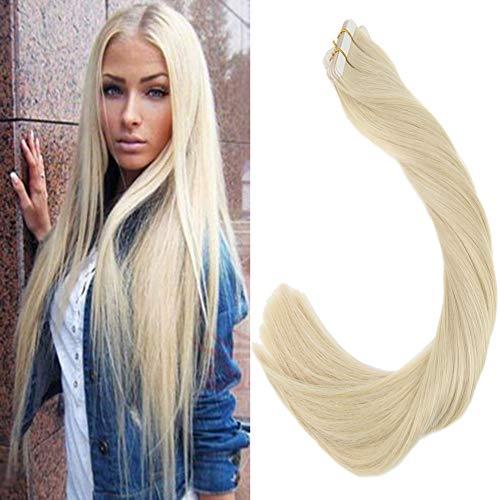 LaaVoo Skin Wefts Extensions Echthaar Tape on Seamless Hair Gebleichtes Blond #613 100GR/40PCS Remy Tape in Human Hair Glatt 22 Zoll/55cm
