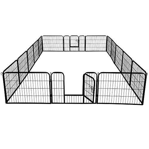 Topeakmart 24-inch Foldable Pet Dog Pen & Metal Pet Playpen Puppy Cat Exercise Pen Barrier Playpen Kennel Outdoor Indoor Black 16 Panels