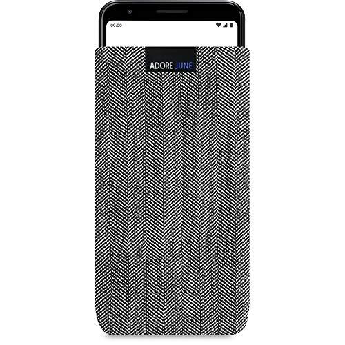 Adore June Business Tasche passend für Google Pixel 3a Handytasche aus charakteristischem Fischgrat Stoff - Grau/Schwarz | Schutztasche Zubehör mit Bildschirm Reinigungs-Effekt | Made in Europe