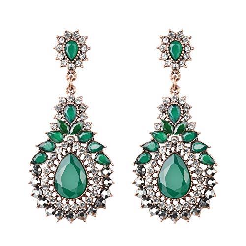 Orecchini etnici di lusso per le donne verde cristallo fiore di nozze vintage gioielli antico oro Boemia ciondolo regalo regalo