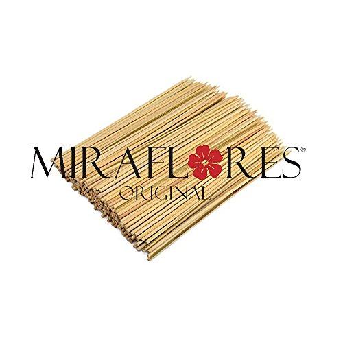 100 Stecconi in Bamboo Monouso - Disponibili in Diversi Misure - Ideali per Spiedini di Carne, Verdure, Frutta e Dolci - Qualità e Resistenza Testata (15 cm)