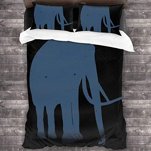 Elefante y cuidado paliativo juego de ropa de cama de 3 piezas de 218 x 177 cm, juego de ropa de cama de moda Queen con 2 fundas de almohada suaves impresas para casa de huéspedes de niños