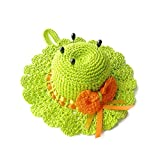 Alfiletero verde y naranja en forma de sombrero de ganchillo - Tamaño: ø 12.5 cm - Handmade - ITALY