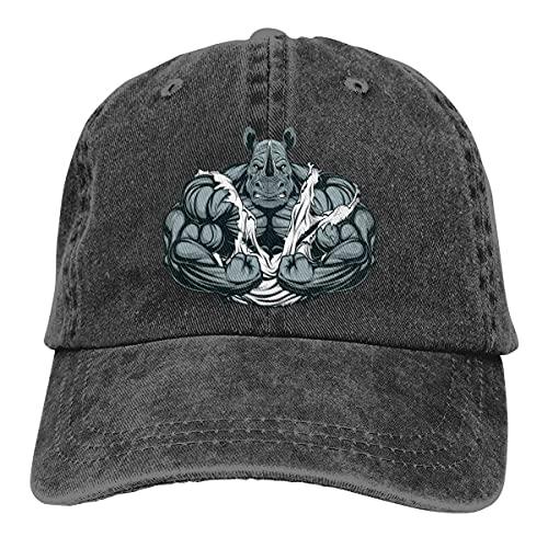 QUEMIN Muscle Rhino Gorras de béisbol Ajustables Unisex Sombreros de Mezclilla Deporte de Vaquero al Aire Libre