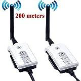 Auto Wayfeng WF® Car 2.4 GHz transmisor y receptor de cable AV inalámbrico para el autobús Monitor de video del carro Camión de marcha atrás con respaldo retrovisor 200 metros de alcance