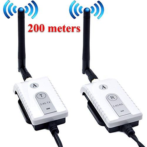 Auto Wayfeng WF® Auto 2.4 GHz Wireless AV Cavo trasmettitore e ricevitore per auto Bus Monitor video Monitoraggio retromarcia Telecamera di retromarcia Telecamera da 200 metri