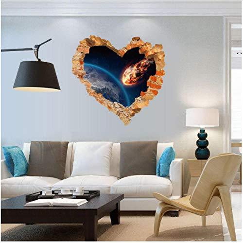 Liefde Hart Gebroken muur Buitenruimte Muursticker Art Woonkamer Slaapkamer Woondecoratie 3D Effect Poster 60x60cm
