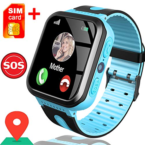 Smart Watch for Kids, Best Gifts for 4-12 Year Old Boys Girls, Kids Smart Watch GPS Tracker Watch with SOS Call Touch Screen Game Alarm for Kids Boys Girls Holiday Birthday Gift (1.Blue)