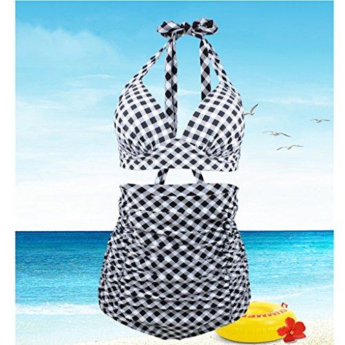 Jinxin zwart/wit geruite high-tail bikini, geschikt voor dikke badmode van verschillende leeftijden, grote badpakken