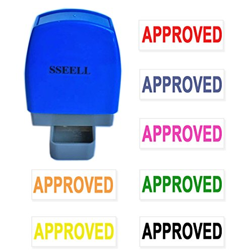 SSEELL Approved Self Inking Rubber Flash Stamp Self-Inking Pre-Inked RE-inkable Office Work Company School Stationary Stamps Without Frame Line - Red Ink Color