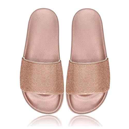 of forever women slippers METLIU Rhinestone Sandals for Women, Forever Link Rhinestone Glitter Slide Slip On Flatform Footbed Sandal SlippersPink-37