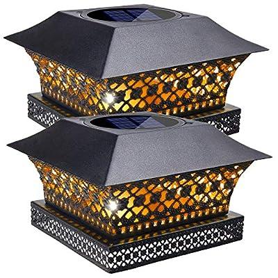 Siedinlar Solar Post Lights Outdoor Fence Deck Caps Light Solar Powered Metal Warm White LED Lighting Waterproof for Garden Patio Decoration 4x4 5x5 6x6 Wooden Posts Black (2 Pack)
