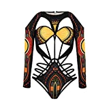 NJunicorn Uncle Fashion Women African High Cut Swimsuit One Piece Lace Up Backless Printed Bathing Suit Plus(Black 4/6)