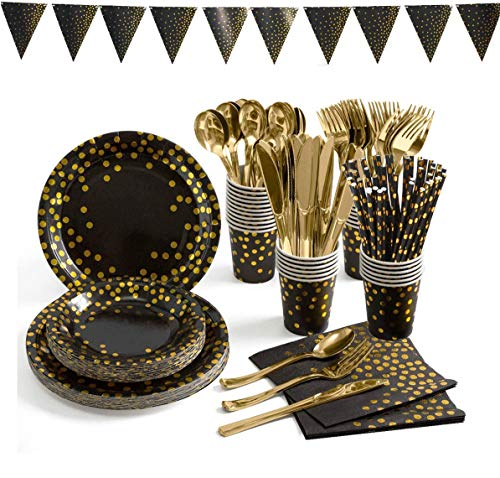 Black and Gold Party Supplies 82 Pieces Disposable Party Dinnerware - Black Paper Straw Plates Napkins Cups Banner, Gold Plastic Forks Knives Spoons for Graduation, Birthday, Cocktail Party,Serves 10